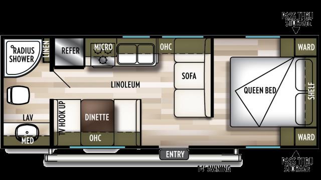 2020 Wildwood X-Lite 241QBXL Floor Plan