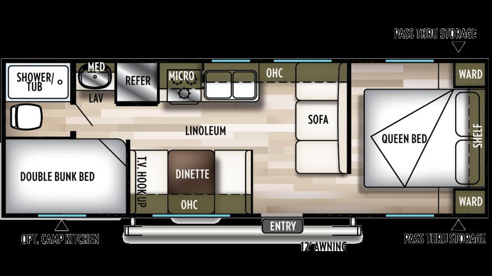 2020 Wildwood X-Lite 261BHXL Floor Plan Img