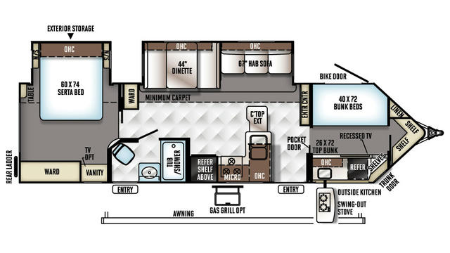 2018 Windjammer 3006WK Floor Plan