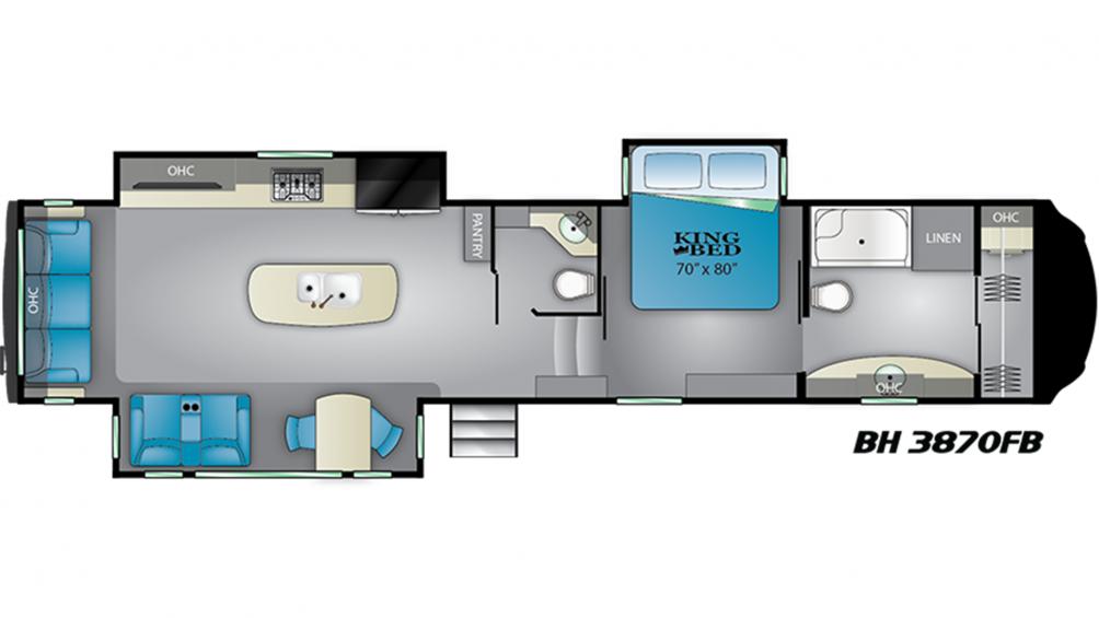 2019 Bighorn 3870FB Floor Plan Img