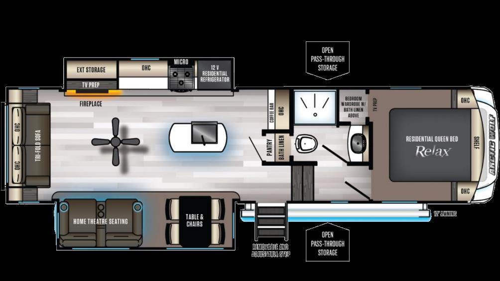 Arctic Wolf 291RL Floor Plan - 2020
