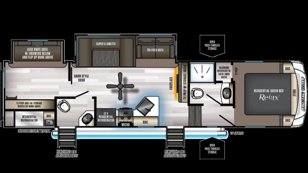 Arctic Wolf 321BH Floor Plan - 2020