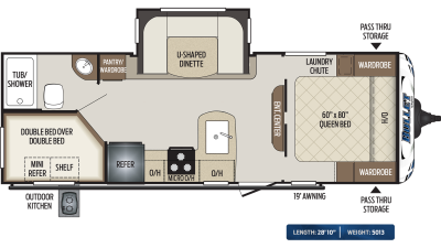 Bullet 243BHS Floor Plan - 2020