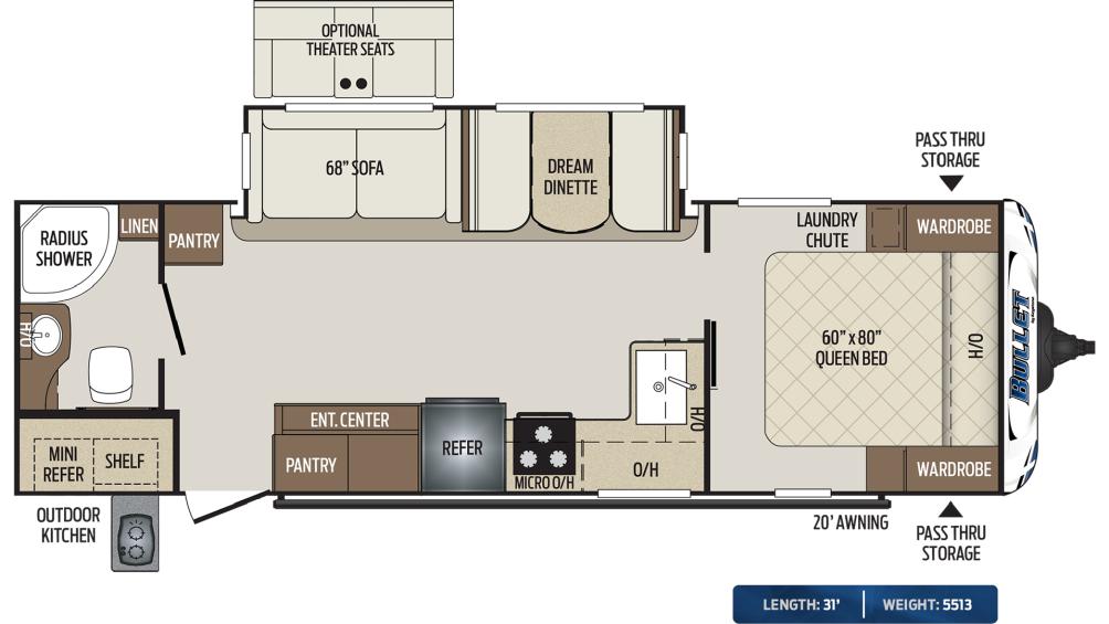 Bullet 261RBS Floor Plan - 2020