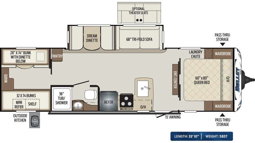 Bullet 287QBS Floor Plan - 2020