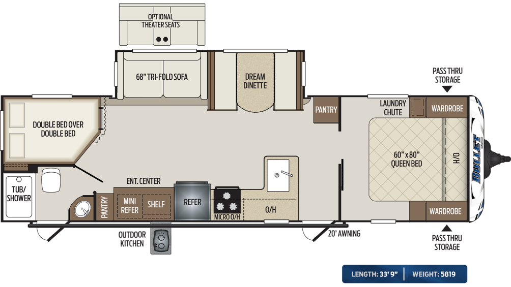 Bullet 290BHS Floor Plan - 2020