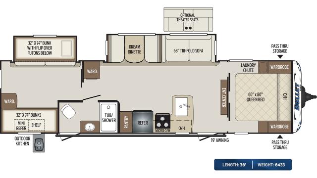 2020 Bullet 308BHS Floor Plan