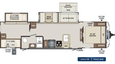 Bullet 308BHS Floor Plan - 2020