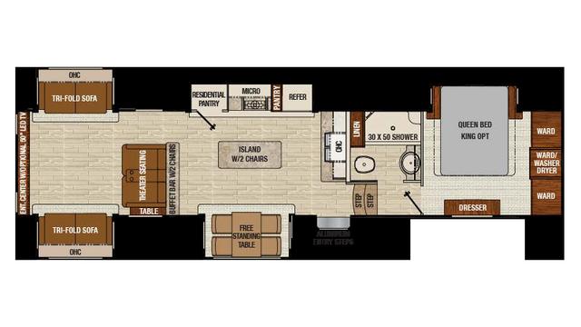 2017 Chaparral 381RD Floor Plan