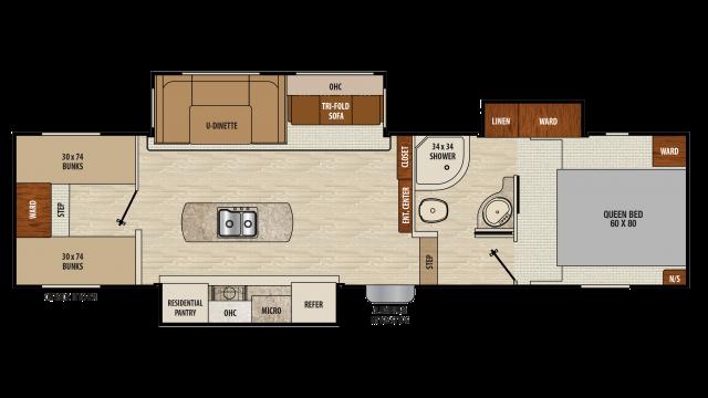 2018 Chaparral Lite 295BHS Floor Plan