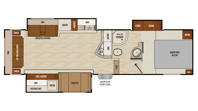 2018 Chaparral Lite 29RLS Floor Plan
