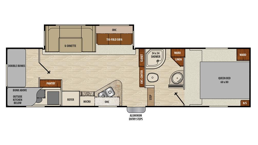 2018 Chaparral X-Lite 31BHS Floor Plan