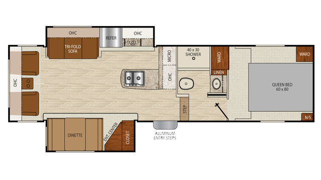 2018 Chaparral X-Lite 31RLS Floor Plan