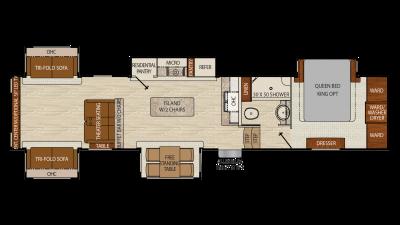 2018 Chaparral 381RD Floor Plan