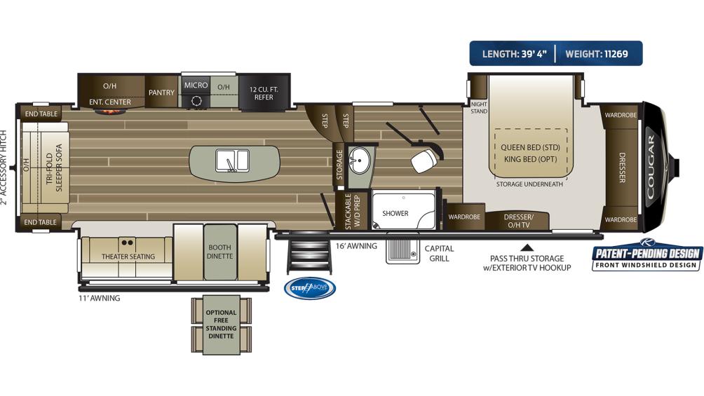 Cougar 361RLW Floor Plan - 2020