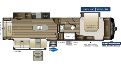 Cougar 361RLW Floor Plan - 2020