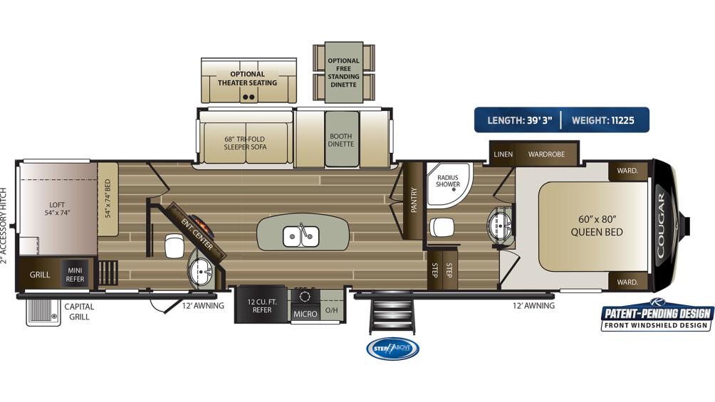 Cougar 364BHL Floor Plan - 2020