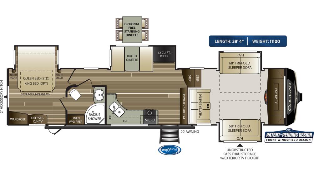 Cougar 367FLS Floor Plan - 2020
