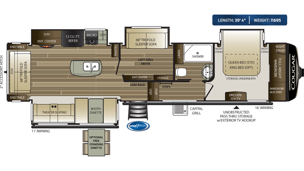 Cougar 368MBI Floor Plan - 2020