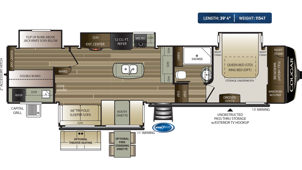 Cougar 369BHS Floor Plan - 2020