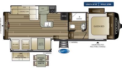 Cougar Half Ton 29RES Floor Plan - 2020