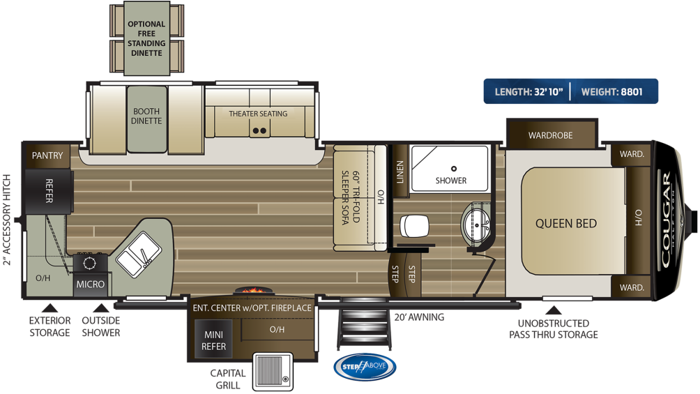 Cougar Half Ton 29RKS Floor Plan - 2020