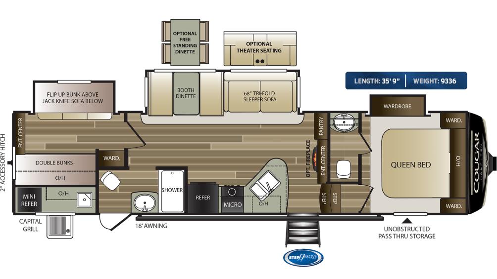Cougar Half Ton 32BHS Floor Plan - 2020