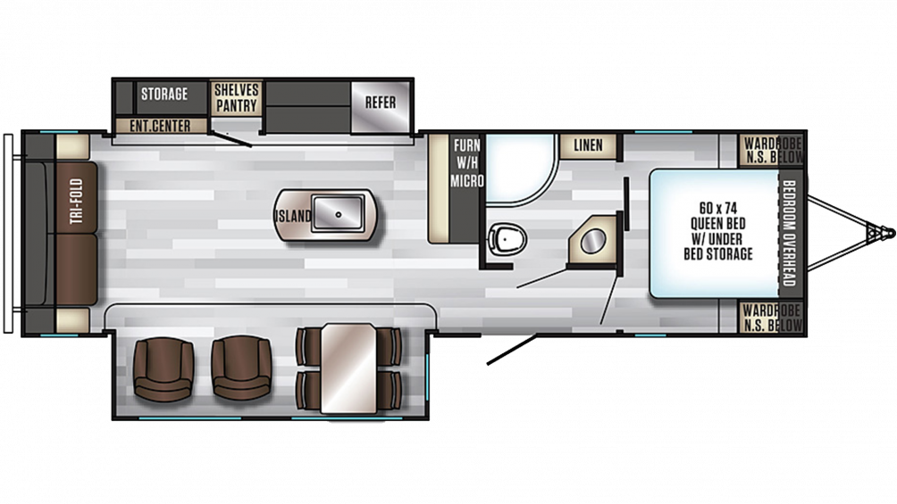 2019 Alpha Wolf 26RL-L Floor Plan Img