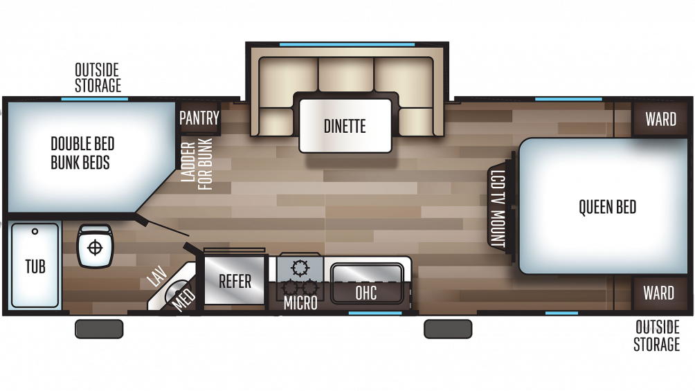 2019 Grey Wolf 23DBH Floor Plan Img