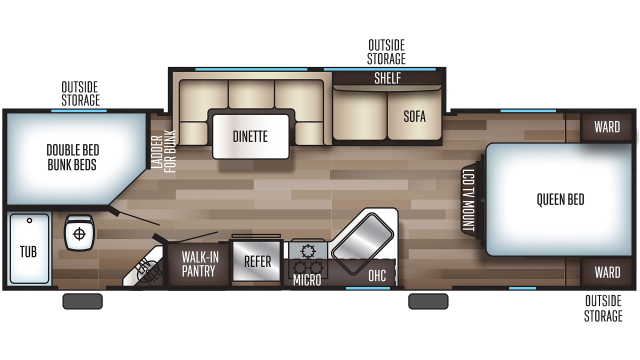 2019 Grey Wolf 26DBH Floor Plan