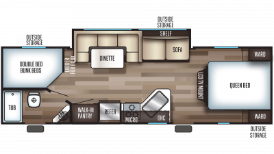 2019 Grey Wolf 26DBH Floor Plan Img