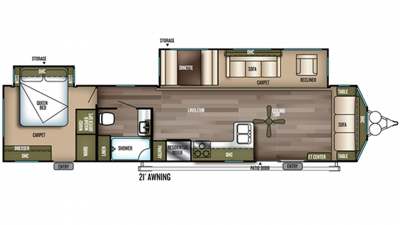 2019 Wildwood DLX 39FDEN Floor Plan Img