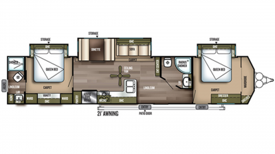 2019 Wildwood DLX 4002Q Floor Plan Img