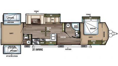 2019 Wildwood DLX 402QBQ Floor Plan Img