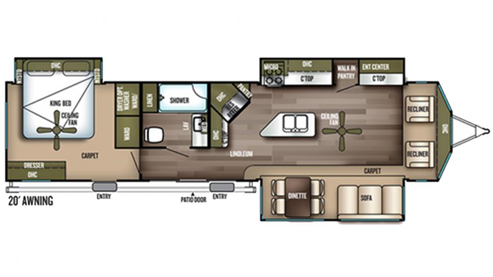 2019 Wildwood Lodge 393FLT Floor Plan Img