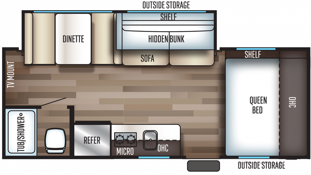 2019 Wolf Pup 18TO Floor Plan Img