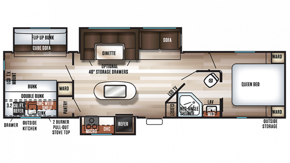 2018 Cherokee 304BH Floor Plan Img