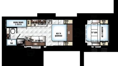 2018 Rockwood Mini Lite 2306 Floor Plan