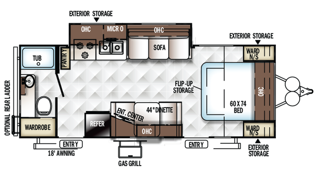 2018 Rockwood Mini Lite 2502KS Floor Plan