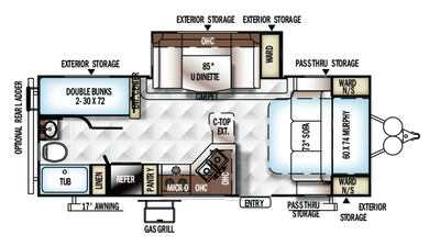 2018 Rockwood Mini Lite 2504S Floor Plan