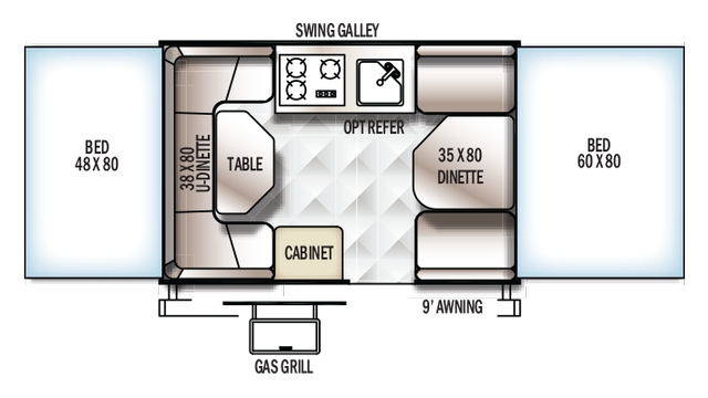 2018 Rockwood Freedom 1980 Floor Plan