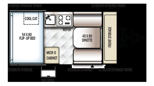 2018 Rockwood Hard Side A122S Floor Plan