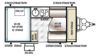 2018 Rockwood Hard Side A192HW Floor Plan