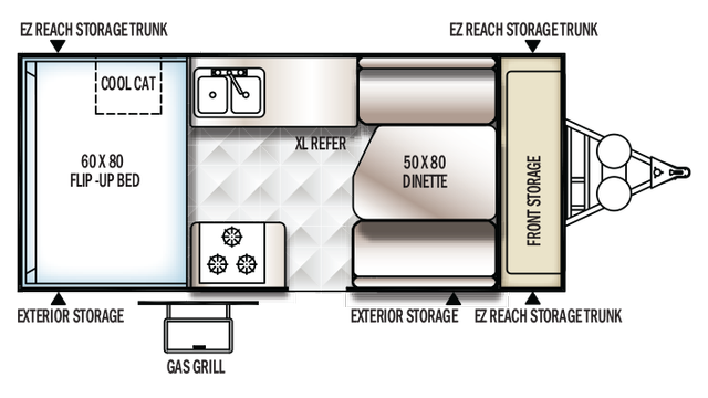 2018 Rockwood Hard Side A212HW Floor Plan