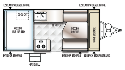 2018 Rockwood Hard Side A212HW Floor Plan