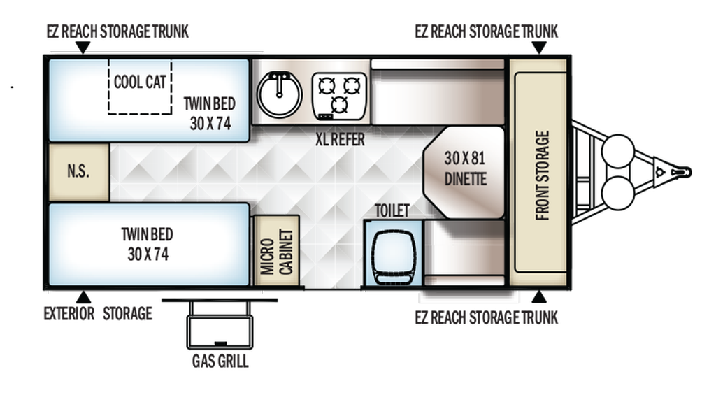2018 Rockwood Hard Side A213HW Floor Plan