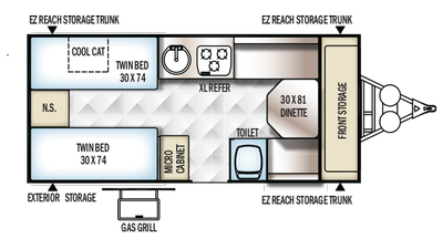2018 Rockwood Hard Side A213HW Floor Plan