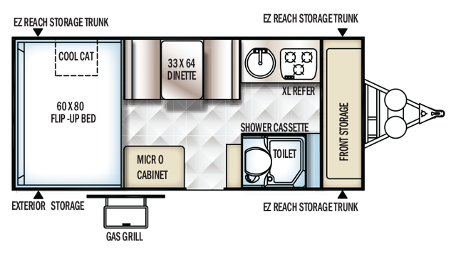 2018 Rockwood Hard Side A214HW Floor Plan