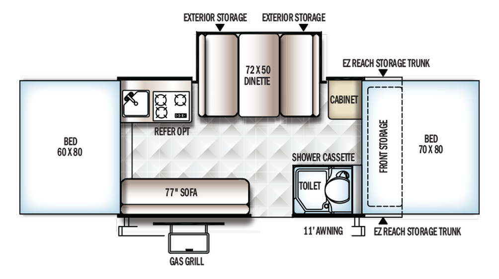 2018 Rockwood Premier 2516G Floor Plan