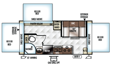 2018 Rockwood Roo 183 Floor Plan